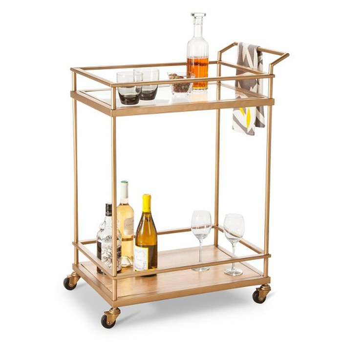 Best Bar Carts Under $200 - Threshold Wood & Glass Gold Finish Bar Cart