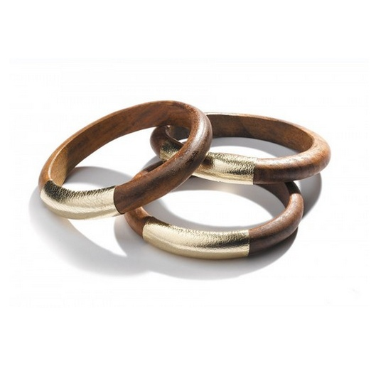 Best Ten Tribal Themed Bests - TOMS Gold Leather Wood Bangles