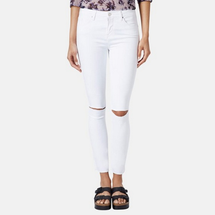 Best Your Guide To This Summer's Best White Jeans - Topshop Moto Leigh Distressed Skinny Jeans in White