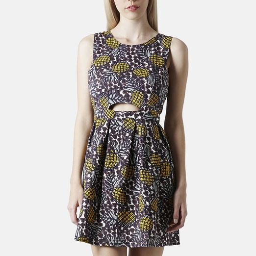 Best It's Raining Pineapples - Topshop Pineapple Print Cutout Dress