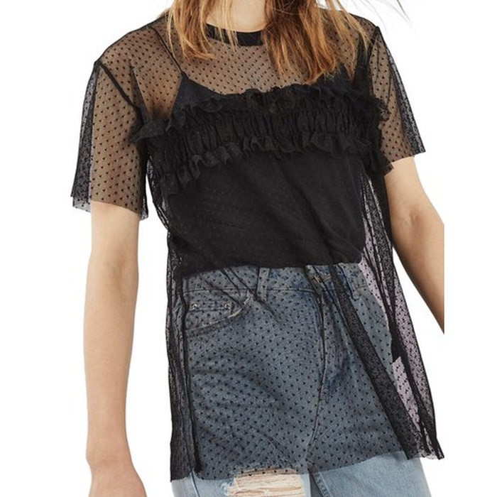 Best Sheer Layering Tops - Topshop Ruffle Mesh Top