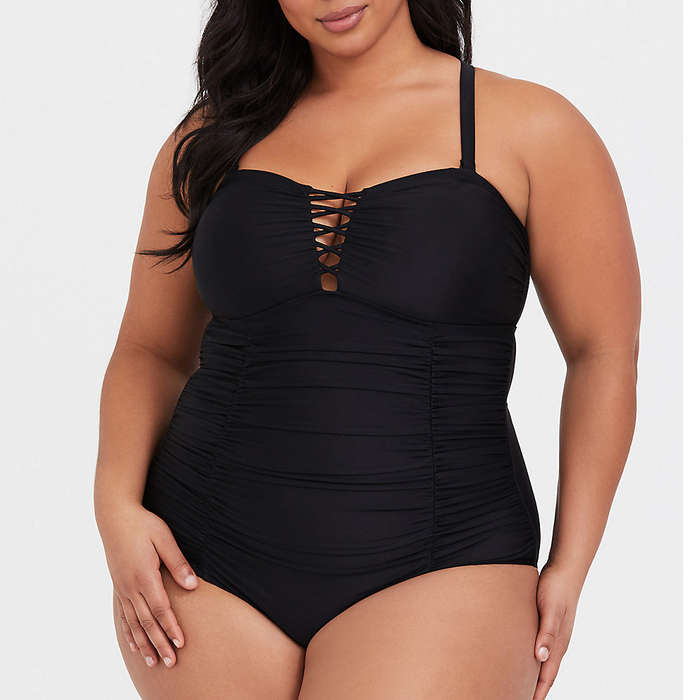 68bc3e6987497 Torrid Black Lattice Wireless One-Piece Swimsuit