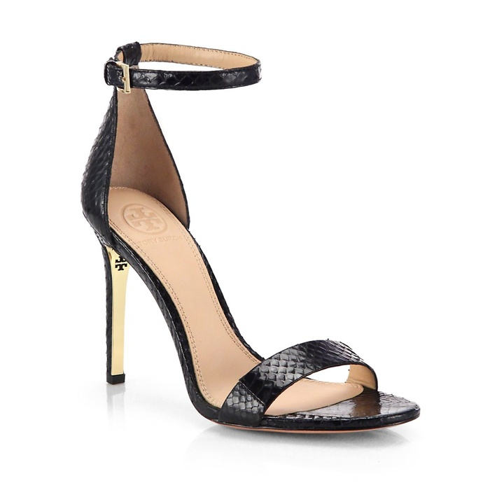 Best The Ten Best Fall Party Pumps and Clutches - Tory Burch Keri Snakeskin Sandals