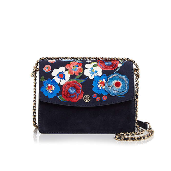 Best Embellished Handbags - Tory Burch Parker Convertible Embroidered Suede Shoulder Bag