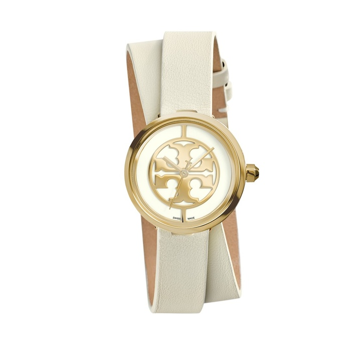 Best For the Preppy Girl - Tory Burch Reva Logo Dial Double Wrap Leather Strap Watch