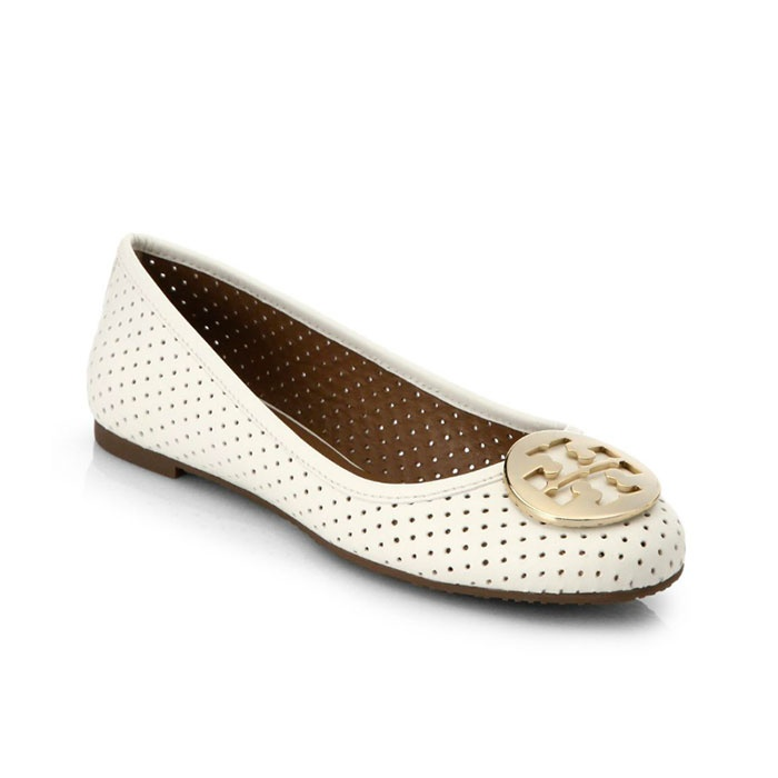 Best Perforated & Laser Cut Bests - Tory Burch Reva Perforated Leather Ballet Flats