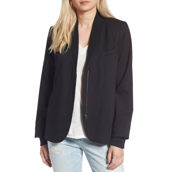 Best Women's Fashion Blazers - Treasure & Bond Rib Trim Blazer