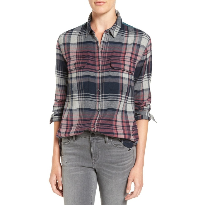Best Boyfriend Button-Down Shirts - Treasure&Bond Swingy Plaid Boyfriend Shirt
