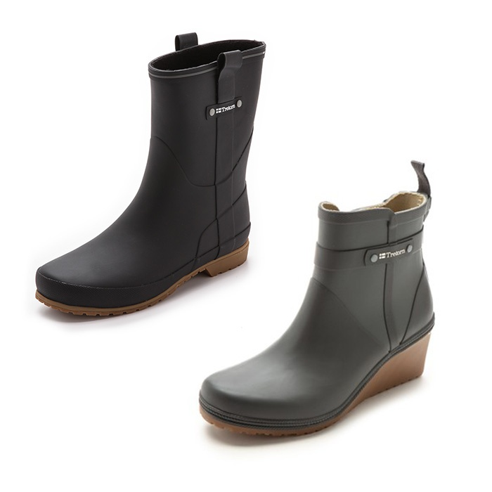 Best Rain Booties - Tretorn Elsa Lined Rain Booties and Plask Mid Wedge Rain Boots