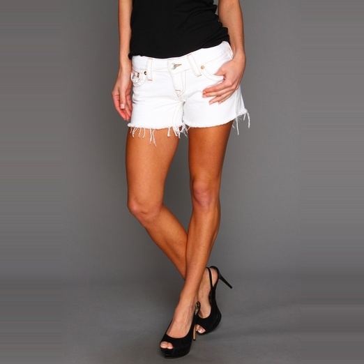 Best White Denim Shorts - True Religion Keira Cutoff Shorts