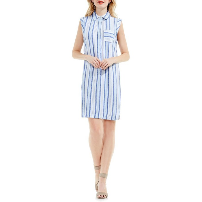 Best Spring Wear to Work Dresses - Two by Vince Camuto Stripe Linen Blend Shirtdress