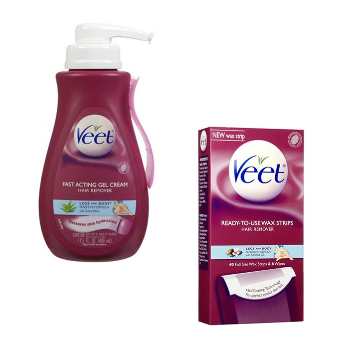 Best Hair Removal Tools and Products - Veet Ready-To-Use Wax Strips for Leg & Body and Hair Removal Gel Cream Sensitive Formula