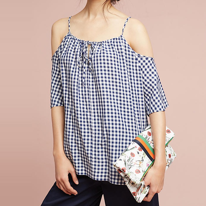 Best Gingham Tops - Velvet by Graham & Spencer Gingham Open-Shoulder Blouse