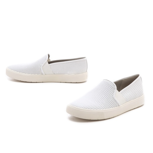 Best Stylish White Sneakers - Vince Blair Perforated Leather Laceless Sneakers