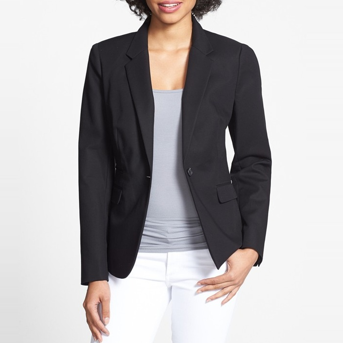 Best Blazers - Vince Camuto Stretch Cotton One-Button Blazer