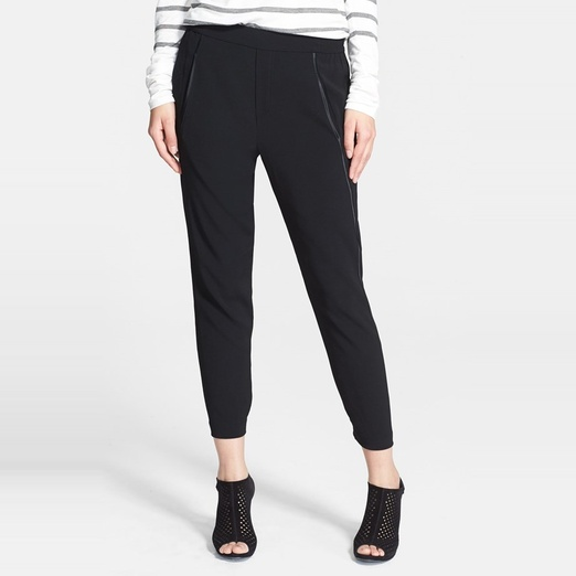 Best Track Pants - Vince Satin-Piped Cropped Track Pants