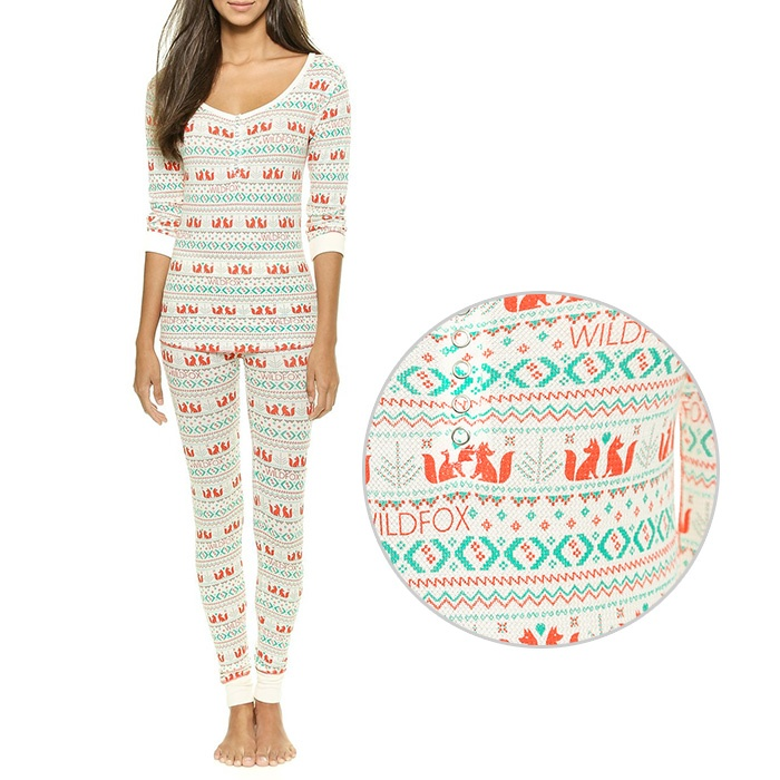 Best For the Ski Bunnies and Snow Angels - Wildfox Ski Bunny Fox Print PJ Set