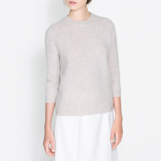 Best Cashmere Crewnecks - Zara Cashmere Knit Sweater