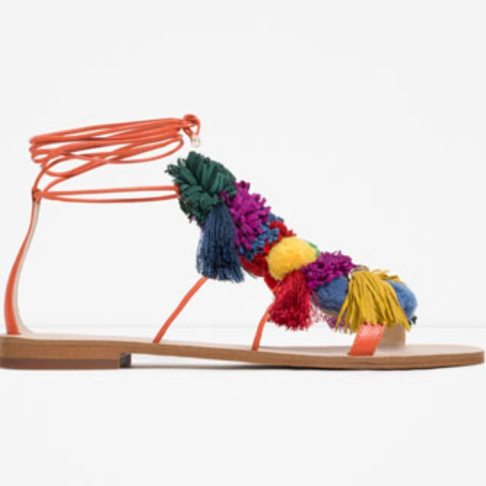 Best Pom pom Sandals - Zara Leather Sandals