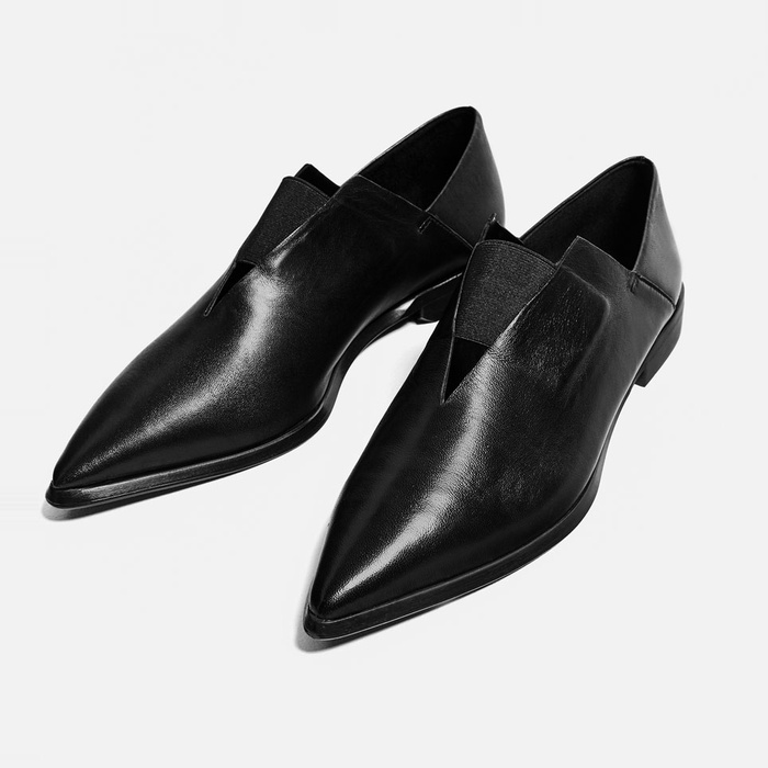 Best Women's Loafers - Zara Pointed Flat Stretch Leather Shoes