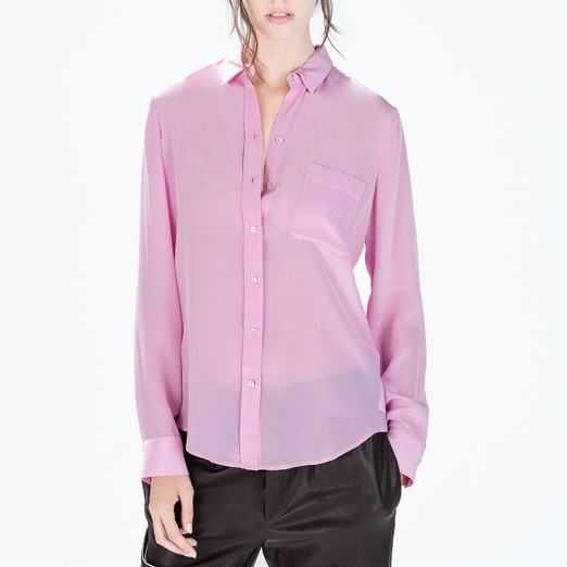 Best Lilac Bests - Zara Silk Shirt with Pocket